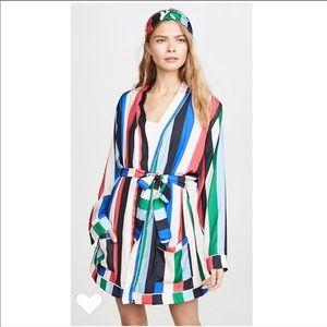 PLUSH Striped Robe w/ Headband sz M